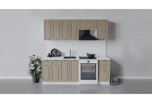 Кухонный гарнитур «Бьянка» длиной 220 см (Белый/Дуб кофе)