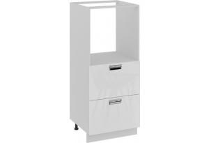 Шкаф комбинированный под бытовую технику с 2-мя ящиками (БЬЮТИ (Белая))