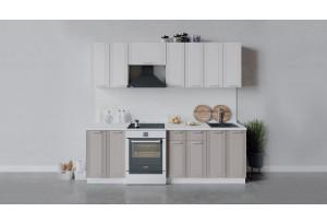 Кухонный гарнитур «Ольга» длиной 240 см (Белый/Белый/Кремовый)