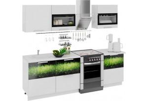 Кухонный гарнитур длиной - 240 см Фэнтези (Белый универс)/(Грасс)
