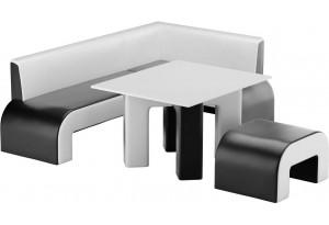 Кухонный уголок Кармен Черный/Белый (Экокожа)