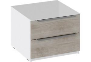 Тумба прикроватная с 2 ящиками «Синди» (Белый глянец/Баттл Рок)