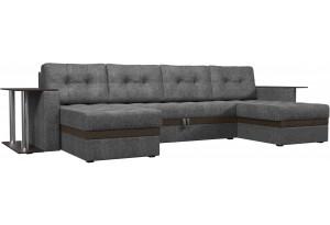 П-образный диван Атланта со столом Серый/коричневый (Рогожка)