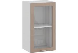 Шкаф навесной c одной дверью со стеклом «Весна» (Белый/Кофе с молоком)