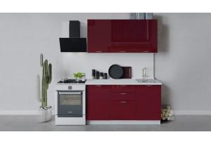 Кухонный гарнитур «Весна» длиной 150 см (Белый/Бордо глянец)