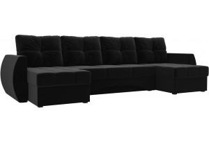П-образный диван Сатурн Черный (Микровельвет)