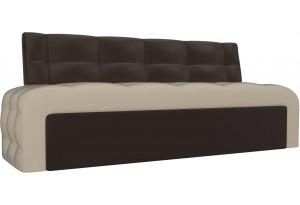 Кухонный прямой диван Люксор бежевый/коричневый (Экокожа)