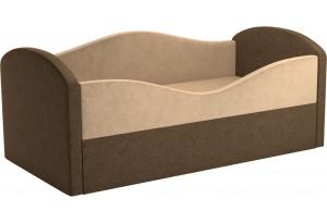Детская кровать Сказка бежевый/коричневый (Микровельвет)