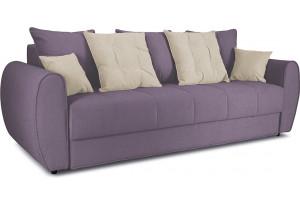 Диван «Бернард» Neo 09 (рогожка) фиолетовый, подушка Neo 02 (рогожка) бежевый