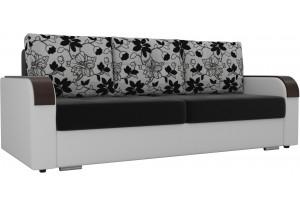 Прямой диван Мейсон Черный/Белый (Микровельвет/Экокожа/флок на рогожке)