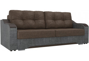 Прямой диван Браун коричневый/Серый (Рогожка)