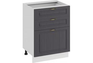 Шкаф напольный с тремя ящиками «Лина» (Белый/Графит)