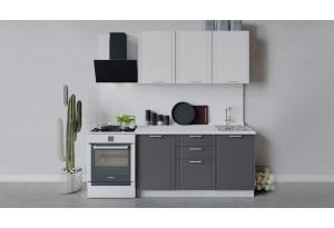 Кухонный гарнитур «Ольга» длиной 150 см (Белый/Белый/Графит)