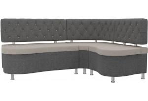 Кухонный угловой диван Вегас бежевый/Серый (Рогожка)