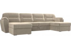 П-образный диван Бостон Бежевый (Микровельвет)