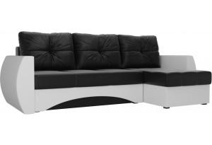 Угловой диван Сатурн Черный/Белый (Экокожа)
