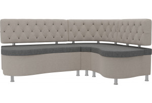 Кухонный угловой диван Вегас серый/бежевый (Рогожка)