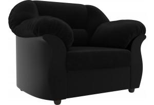 Кресло Карнелла черный/черный (Велюр/Экокожа)