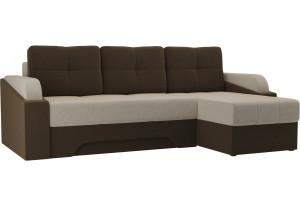 Угловой диван Панда бежевый/коричневый (Микровельвет)