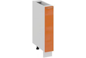 Шкаф напольный с выдвижной корзиной «Весна» (Белый/Оранж глянец)
