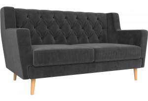 Прямой диван Брайтон 2 Люкс Серый (Велюр)
