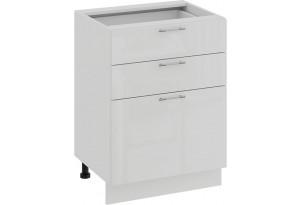 Шкаф напольный с тремя ящиками «Весна» (Белый/Белый глянец)