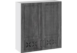 Шкаф навесной c декором (ПРОВАНС (Белый глянец/Санторини темный))