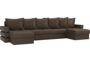 П-образный диван Венеция Коричневый (Рогожка)