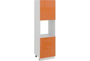 Шкаф-пенал под бытовую технику с двумя дверями «Весна» (Белый/Оранж глянец)