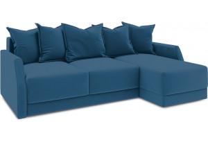 Диван угловой правый «Люксор Slim Т1» (Beauty 07 (велюр) синий)