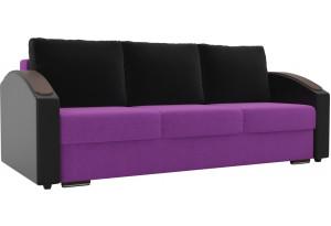 Прямой диван Монако slide Фиолетовый/Черный (Микровельвет/Экокожа)