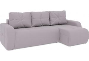 Диван угловой правый «Томас Т1» (Poseidon Pale Lavender (иск.замша) бледно-лавандовый)