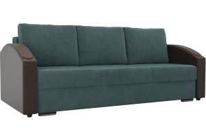 Прямой диван Монако slide Бирюзовый/Коричневый (Велюр/Экокожа)