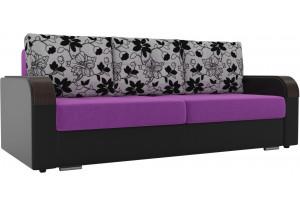Прямой диван Мейсон Фиолетовый/Черный (Микровельвет/Экокожа/флок на рогожке)