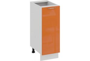 Шкаф напольный с одной дверью «Весна» (Белый/Оранж глянец)