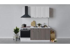 Кухонный гарнитур «Бьянка» длиной 180 см со шкафом НБ (Белый/Дуб белый/Дуб серый)