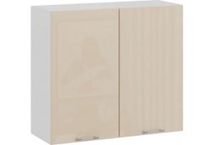 Шкаф навесной c двумя дверями «Весна» (Белый/Ваниль глянец)