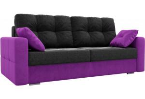 Диван прямой Фьюжн черный/фиолетовый (Микровельвет)