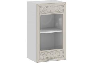 Шкаф навесной c одной дверью со стеклом «Долорес» (Белый/Крем)