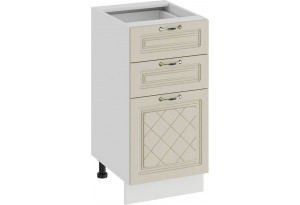 Шкаф напольный с тремя ящиками «Бьянка» (Белый/Дуб ваниль)