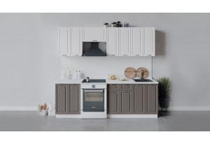 Кухонный гарнитур «Бьянка» длиной 240 см (Белый/Дуб белый/Дуб серый)