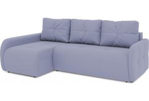 Диван угловой левый «Томас Slim Т2» (Poseidon Blue Graphite (иск.замша) серо-фиолетовый)