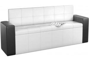 Кухонный прямой диван Династия Белый/Черный (Экокожа)