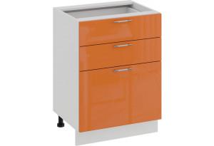 Шкаф напольный с тремя ящиками «Весна» (Белый/Оранж глянец)