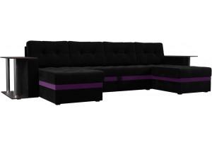 П-образный диван Атланта со столом Черный (Микровельвет)