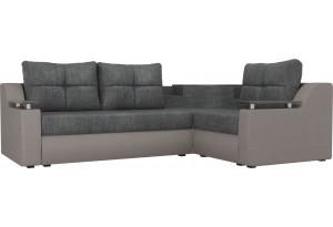Угловой диван Тесей серый/бежевый (Рогожка)