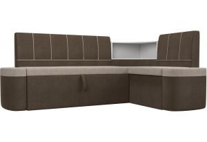 Кухонный угловой диван Тефида бежевый/коричневый (Рогожка)