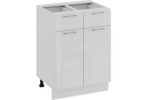 Шкаф напольный с двумя ящиками и двумя дверями «Весна» (Белый/Белый глянец)
