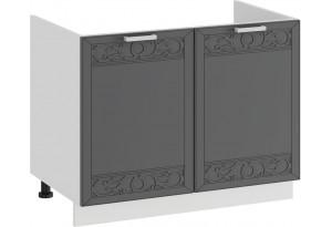 Шкаф напольный с двумя дверями (под накладную мойку) «Долорес» (Белый/Титан)