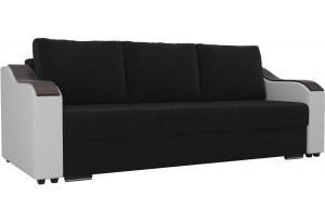 Прямой диван Монако Черный/Белый (Велюр/Экокожа)